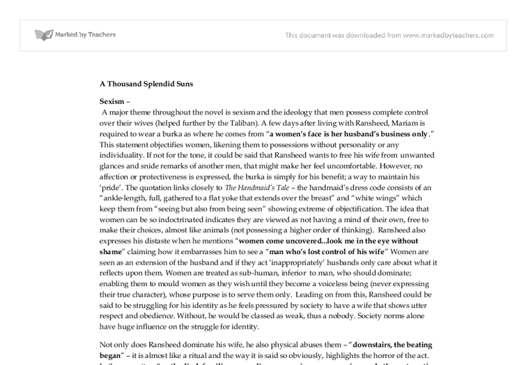 sexism in a thousand splendid suns a level english marked by document image preview