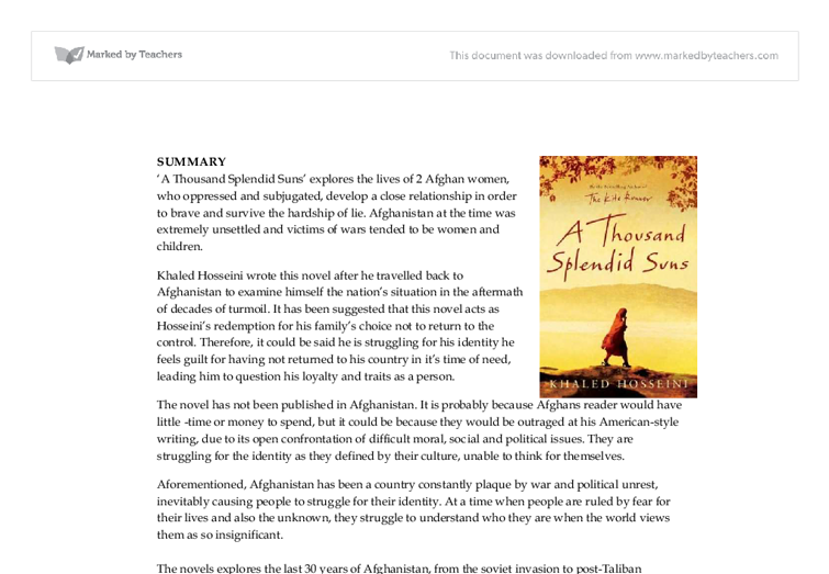 A thousand splendid suns thesis