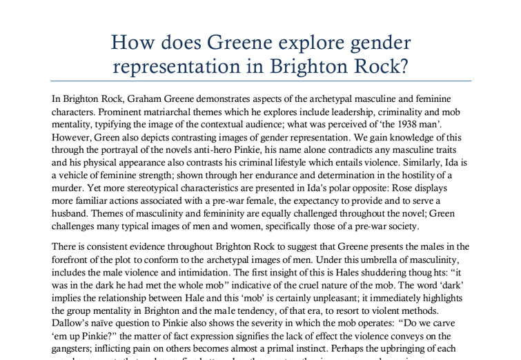 brighton rock essay help Greene wrote later that the first section of brighton rock should have been cut   cutting the first section would mean sacrificing a great piece of thriller writing.