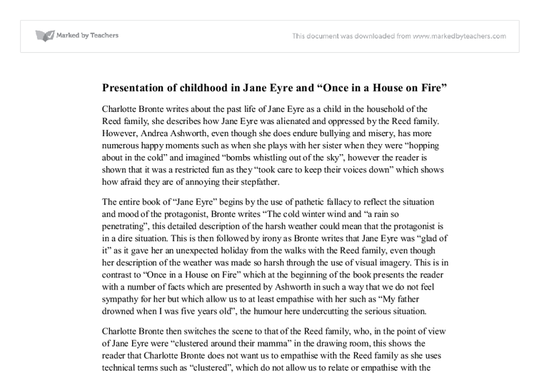 presenation of childhood in jane eyre and once in a house on fire  document image preview