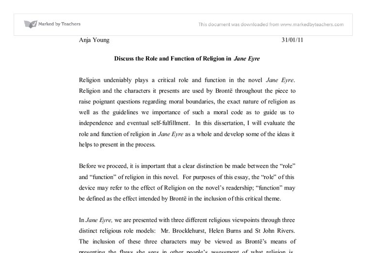 discuss the role of religion in jane eyre a level english  document image preview