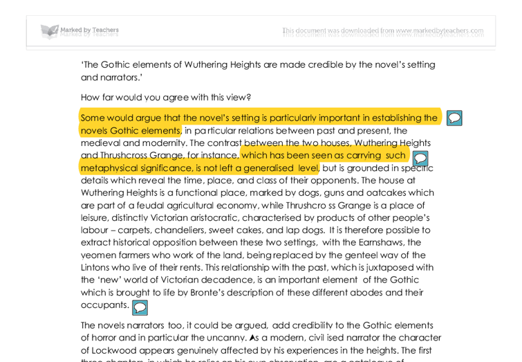 the gothic elements of wuthering heights a level english  document image preview
