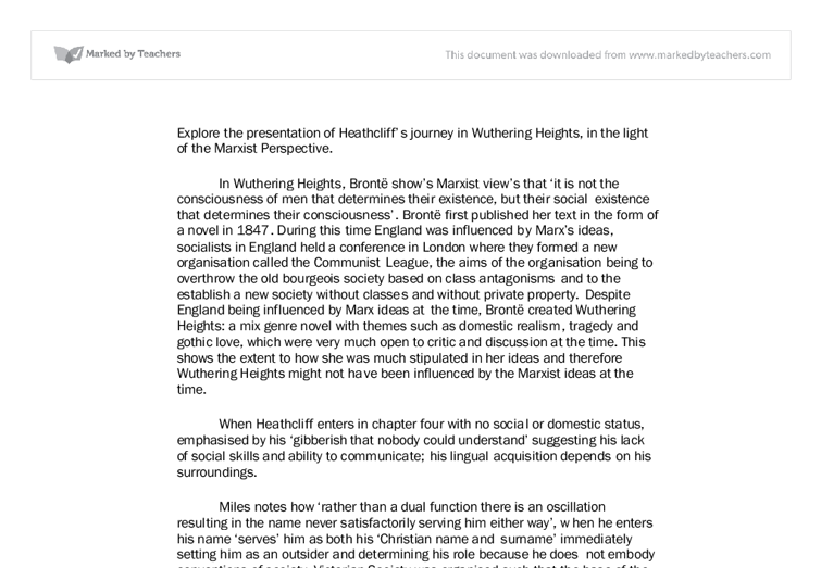 explore the presentation of heathcliffs essay Essay writing guide explore the presentation of heathcliffs journey in wuthering heights, in the light of the marxist perspective.