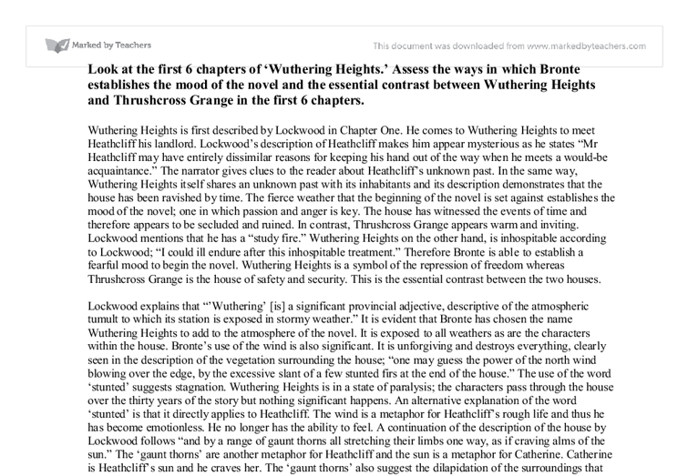 thrushcross grange and wuthering heights english literature essay Wuthering heights summary first published m 1847, emily brontë's wuthering heights ranks high on the list of major works of english literature a brooding tale of.