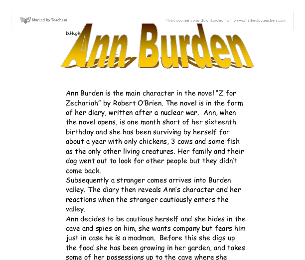 ann burden is the main character in the novel z for zechariah by  document image preview