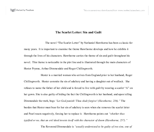 the scarlet letter sin and guilt a level english marked by  document image preview
