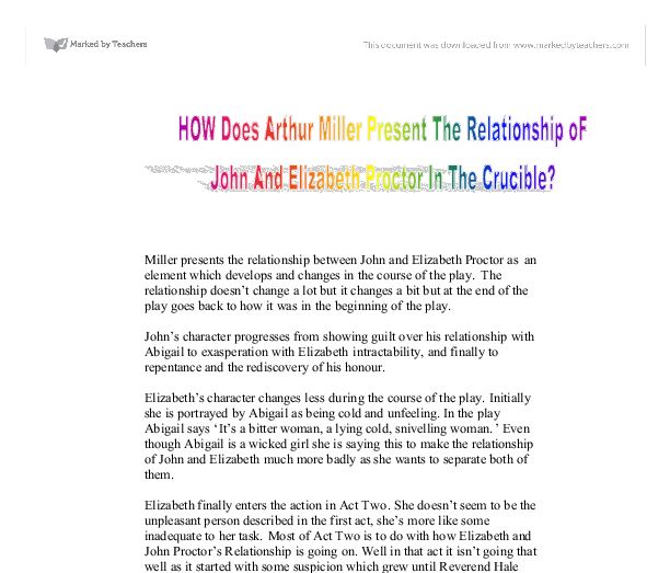 a character analysis john proctor in arthur millers the crucible Analysis of the crucible by arthur miller it is for example the case when john proctor is asked why he this kind of character might represent arthur.