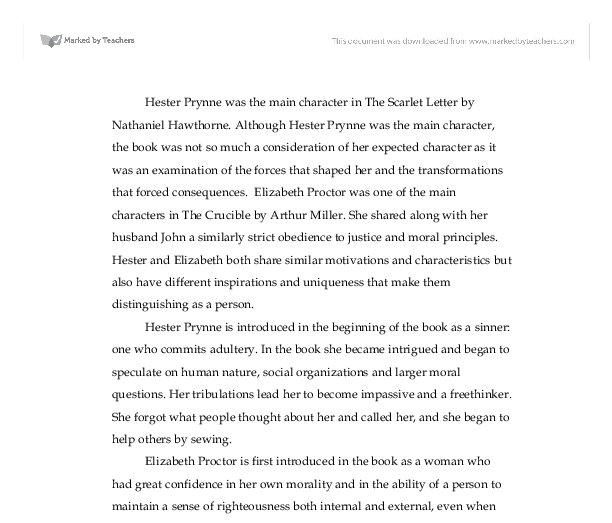 compare and contrast hester prynne the scarlet letter and  document image preview