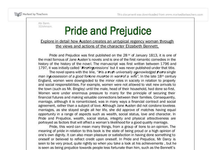 the changing relationship between the central character in pride and prejudice essay Free essay: analytical essay: pride & prejudice the progress between elizabeth's and darcy's relationship, in jane austen's novel pride and prejudice.