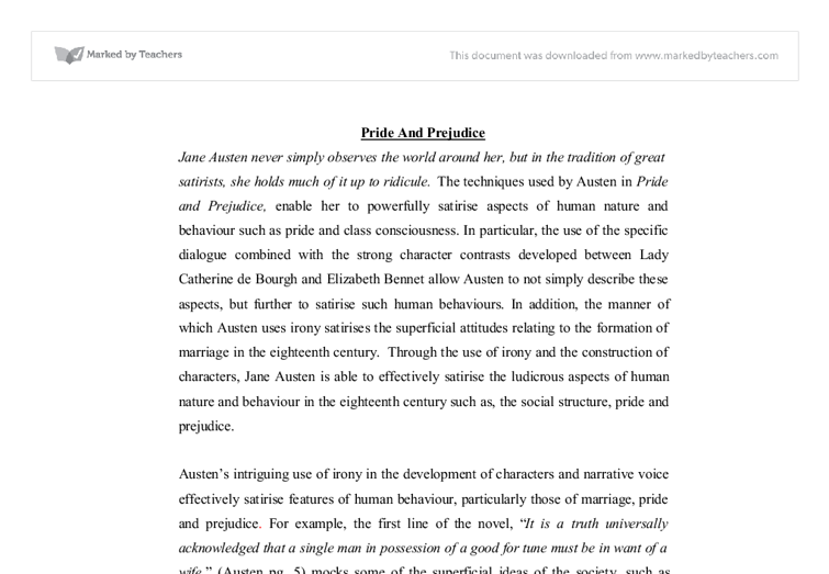 "pride and prejudice irony essay example The pride and prejudice of both darcy and lizzy ""pride and prejudice"" by jane austen essay sample pages: 3 the irony here is that."