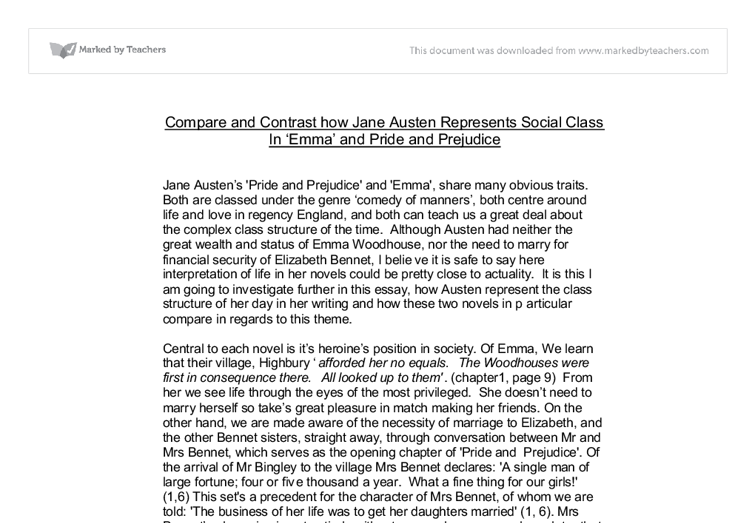 compare and contrast how jane austen represents social class in  document image preview