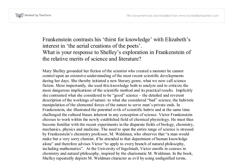 frankenstein compare contrast essay The tools you need to write a quality essay or term paper in contrast with frankenstein by mary essays related to frankenstein - novel and movie comparison.