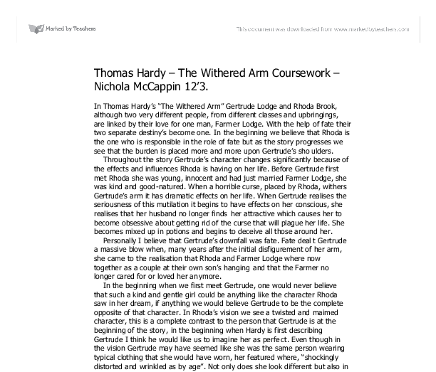a comparison of triangular relationships in the withered arm and turned Free essay: compare and contrast the main female characters in the withered arm and turned you should also refer to the position of women at the times these.