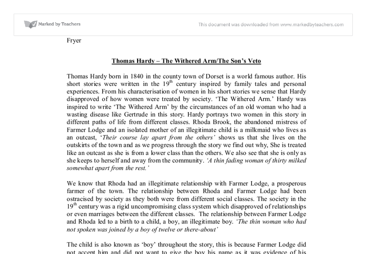 the son s veto by thomas hardy By thomas hardy the son's veto the themes are: marriage social class education love and relationships death language analysis: tone: • this story is written in the third person and is in the past tense.