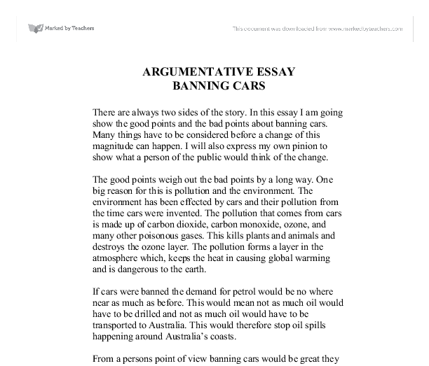 argumentative essay about cars