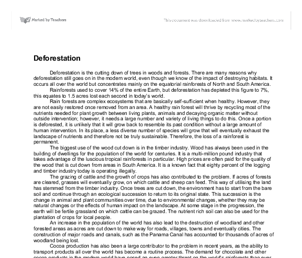 essay about deforestation introduction