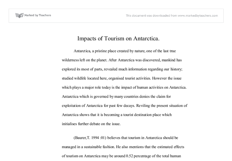 Environmental impact of tourism on antarctica essay