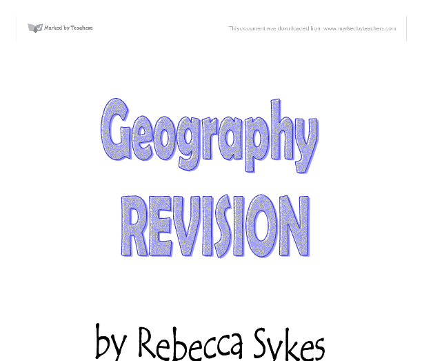 Geography Revision  Flooding  Urbanisation  Population Problems  Geography Revision  Flooding  Urbanisation  Population Problems   Alevel Geography  Marked By Teacherscom