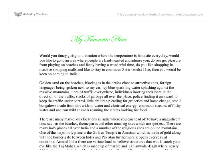 Essay Place Example Of A Descriptive Essay About A Place Sweet  My Favourite Place A Level Geography Marked By Teachers Com Document Image  Preview Pay Someone To Write Literature Review also Compare And Contrast Essay Topics For High School  Comparative Essay Thesis Statement