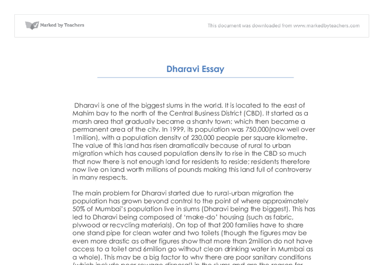 dharavi regeneration essay a level geography marked by  document image preview
