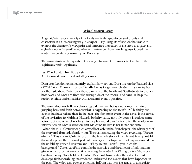 wise children essays English literature essay - following lodge\'s practice, make a close reading of the first three pages of angela carters.