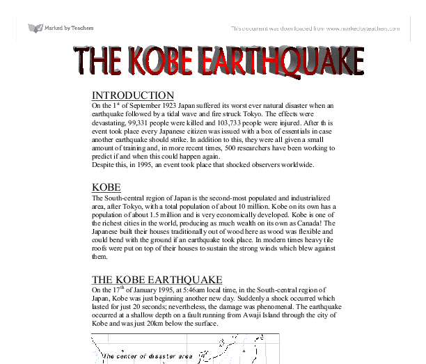 kobe earthquake, japan essay Although japan is used to periodic earthquakes, the scale of this tragedy   murakami turned his attention to the kobe earthquake, publishing a.