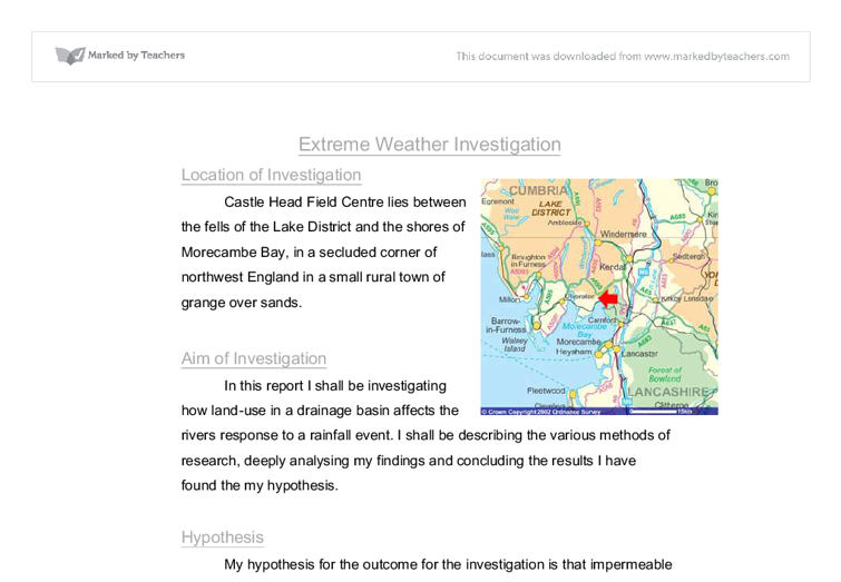 Extreme Weather Investigation Essay Sample