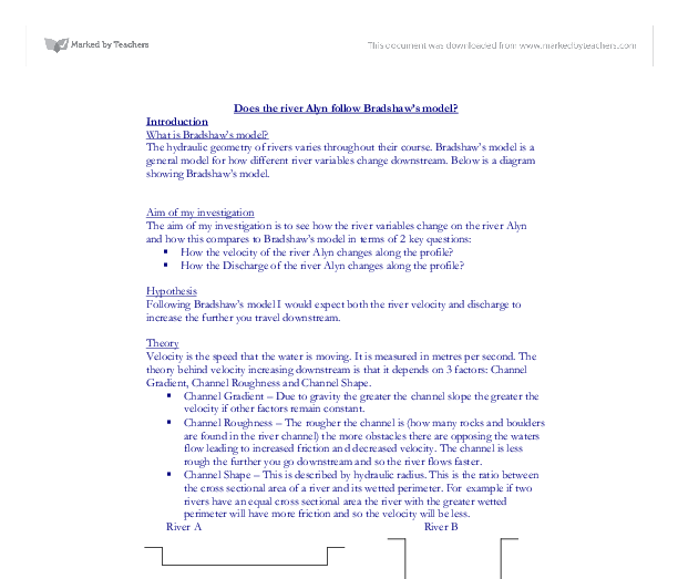 geography coursework bradshaw model Because of its position it teaches skills that can be used geography coursework help in the hard and social my hypotheses will be based on bradshaw's model.