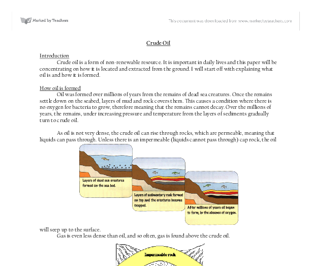 how crude oil is formed. - a-level geography - marked by teachers