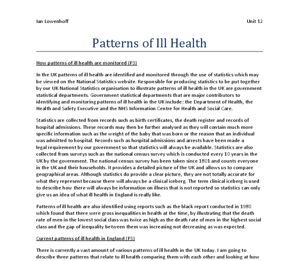 Explaining patterns and trends in health Essay