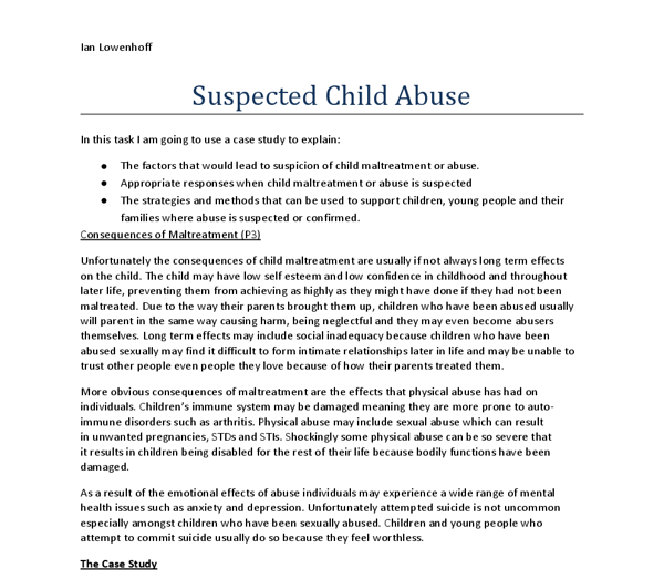 Thesis statement on child abuse example