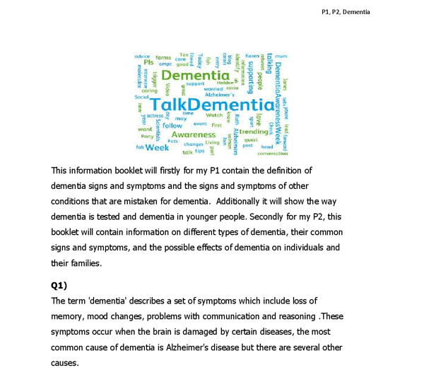 essay on dementia Dementia is the most feared and distressing disorder of later life this essay will give an overview of dementia followed by the most common types of dementia the essay will cover the nursing assessment and the interventions.