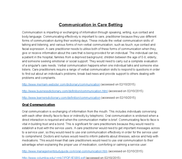 essay written communication care settings 23 show how and when to seek advice about communication and ensuring that written principles of communication in adult social care settings into.