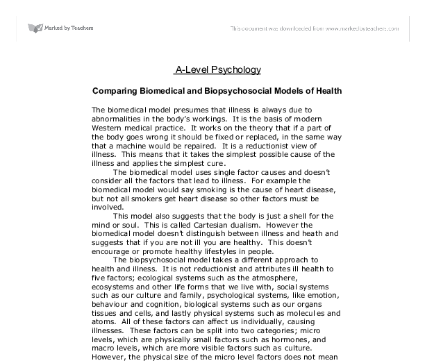 biomedical and biopsychosocial models of care essay coursework  biomedical and biopsychosocial models health and social care essay  published november   health