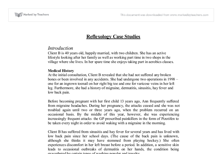 Reflexology Case Study A Level Healthcare Marked By