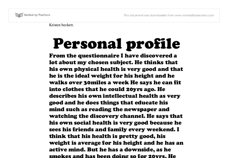 profile essays on a person