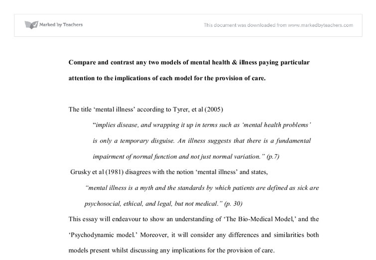 Compare And Contrast Any Two Models Of Mental Health  Illness  Document Image Preview