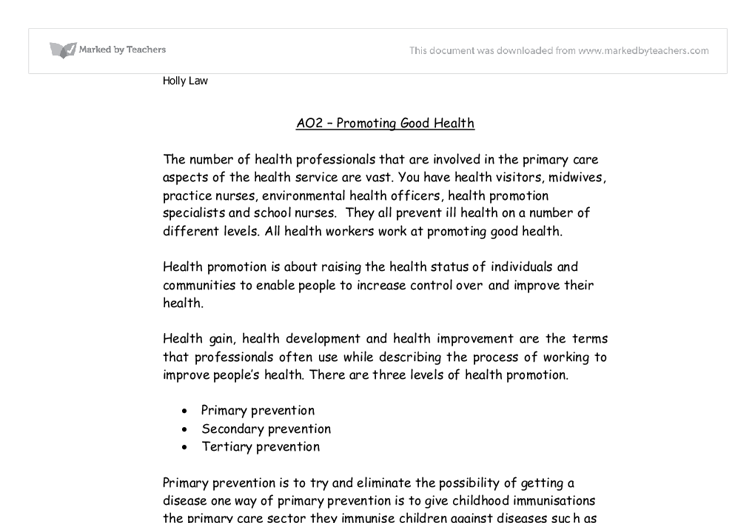 health promotion essays nursing