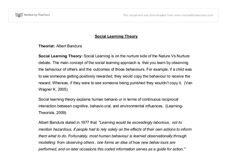social learning theory a level healthcare marked by teachers com document image preview