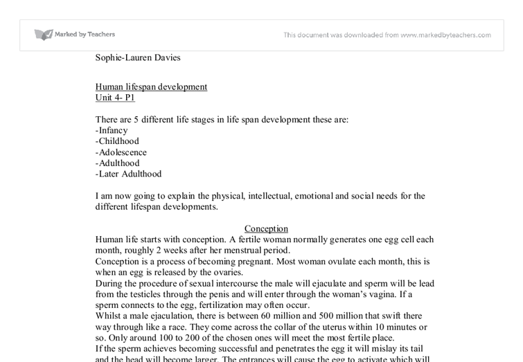 unit human lifespan development a level healthcare marked by  document image preview