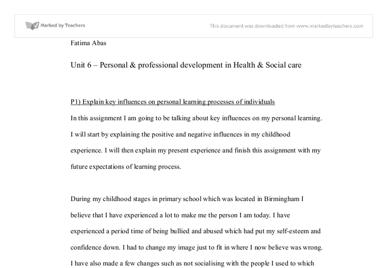 personal  professional development in health  social caren this  document image preview