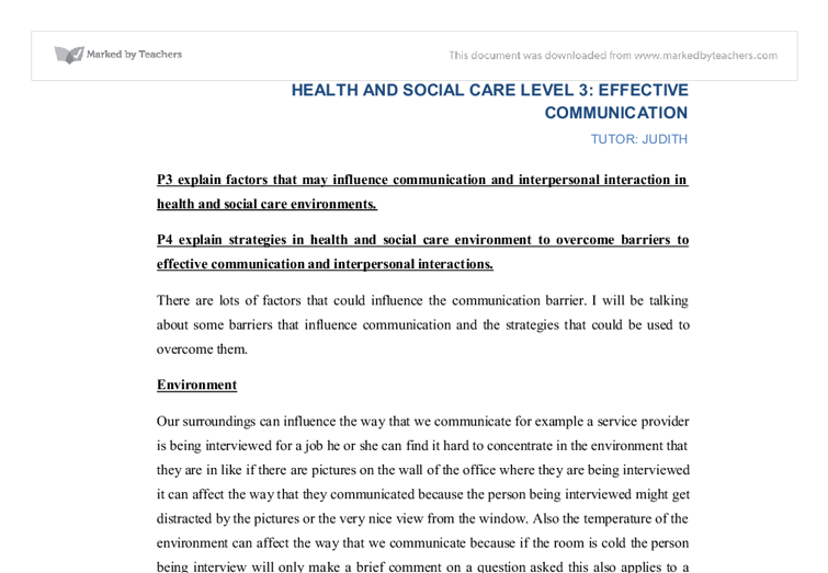 effective communication in health and social care 2 essay Related gcse health and social care skills and knowledge essays developing effective communication in health and social unit 2 section e health and social care.