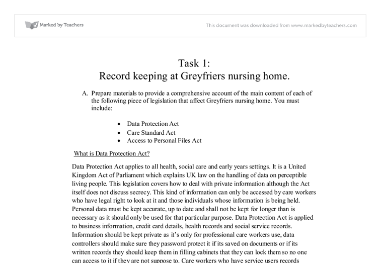 record keeping at greyfriers nursing home essay Essay writing guide  as and a level: healthcare browse by rating: 4 star+ (77) 3 star+ (172) word count:  record keeping at greyfriers nursing home.