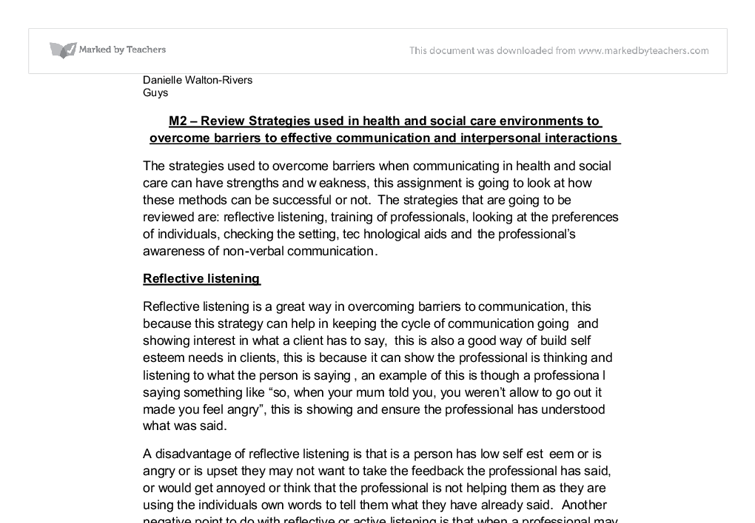 communication in health and social care essays