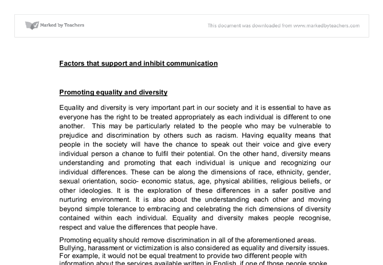 equality diversity teaching essay The importance of promoting equality, diversity and understand the importance of promoting equality and diversity essay on champion equality diversity and.