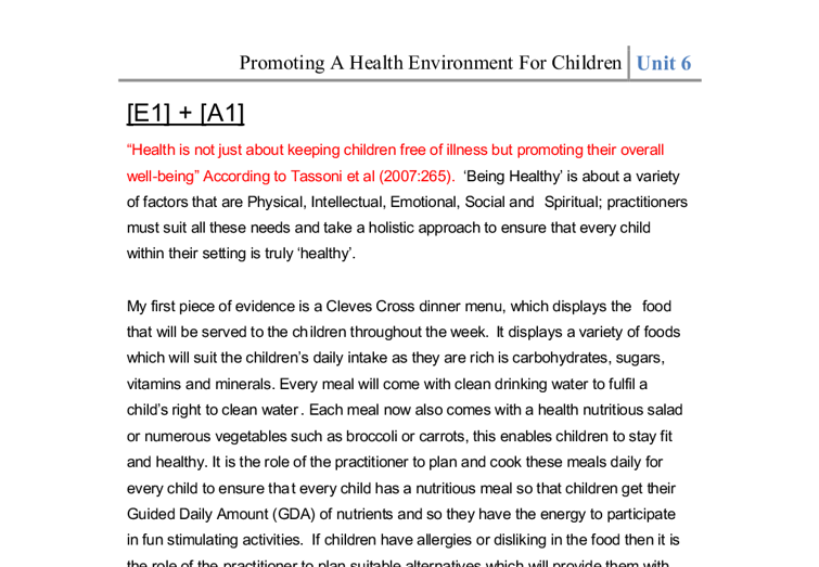promoting a healthy environment for children Creating a child care environment that supports children's up the environment giving children the chance to for better child care articles: health and.