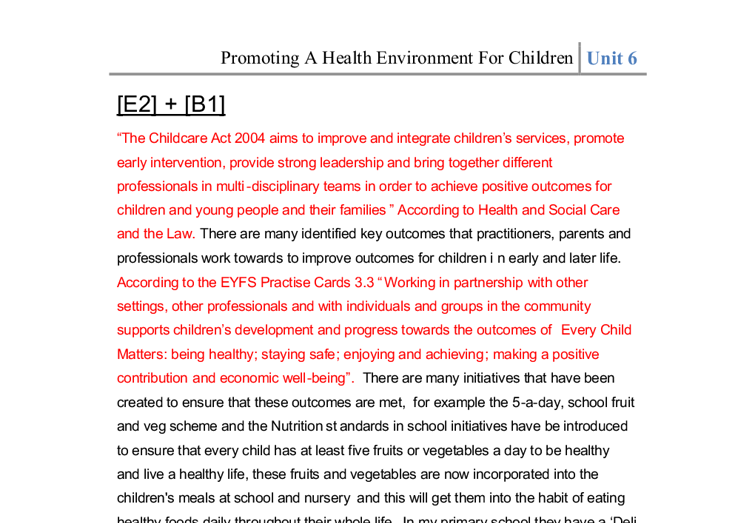 unit 6 promoting a healthy environment for children essay