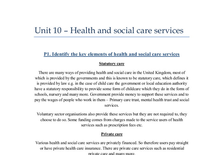 health and social care 14 essay