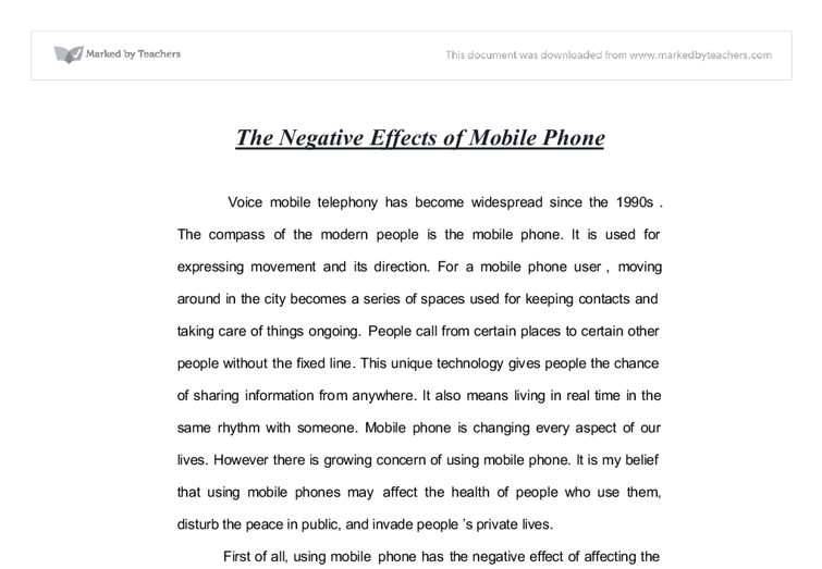 Cell phones essay
