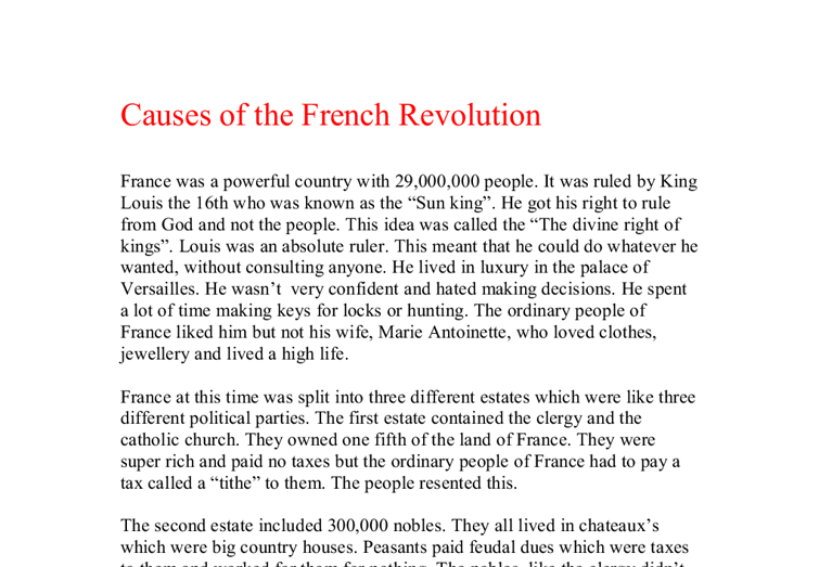 causes and effects of the french revolution essays Free essay on causes of the american revolution available totally free at echeatcom cause and effects of the french revolution and the russian revolution.